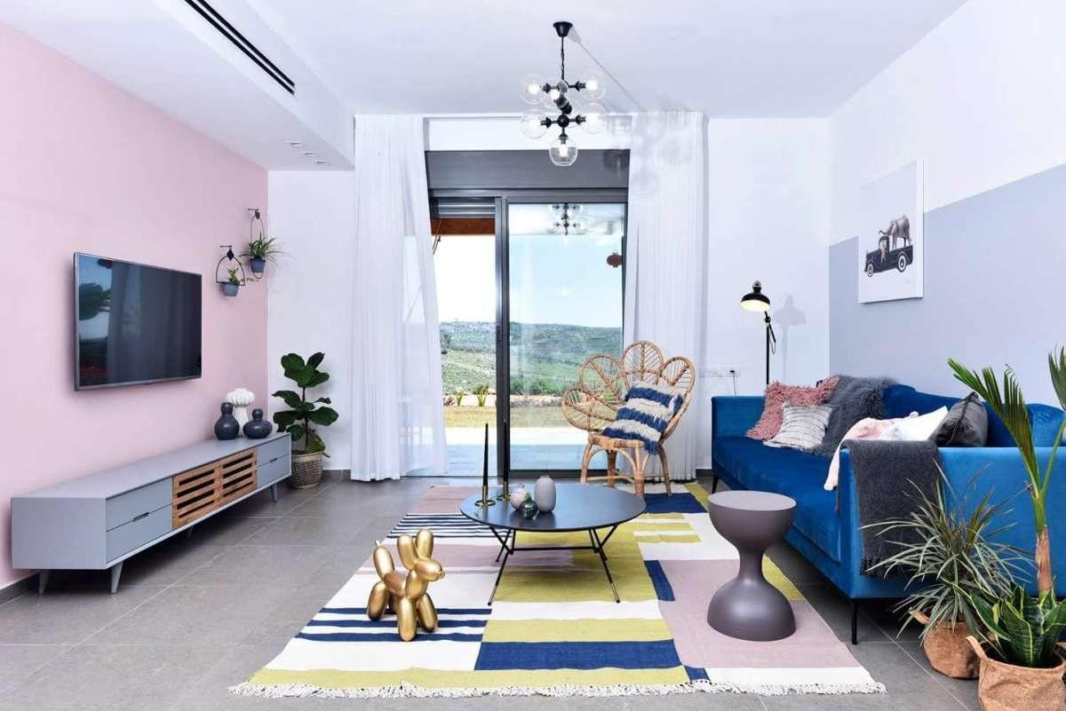 שטיח ארוג כותנה ולורקס זהב: מיקלולה – גלריה לעיצוב חדרים. פרוייקט של המעצבת לירון אוטמזגין, עדידה.  צילום: יוגב עמרני